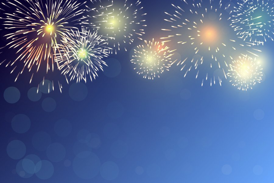 Brightly Colorful Fireworks on twilight background(milezaway Related keywords