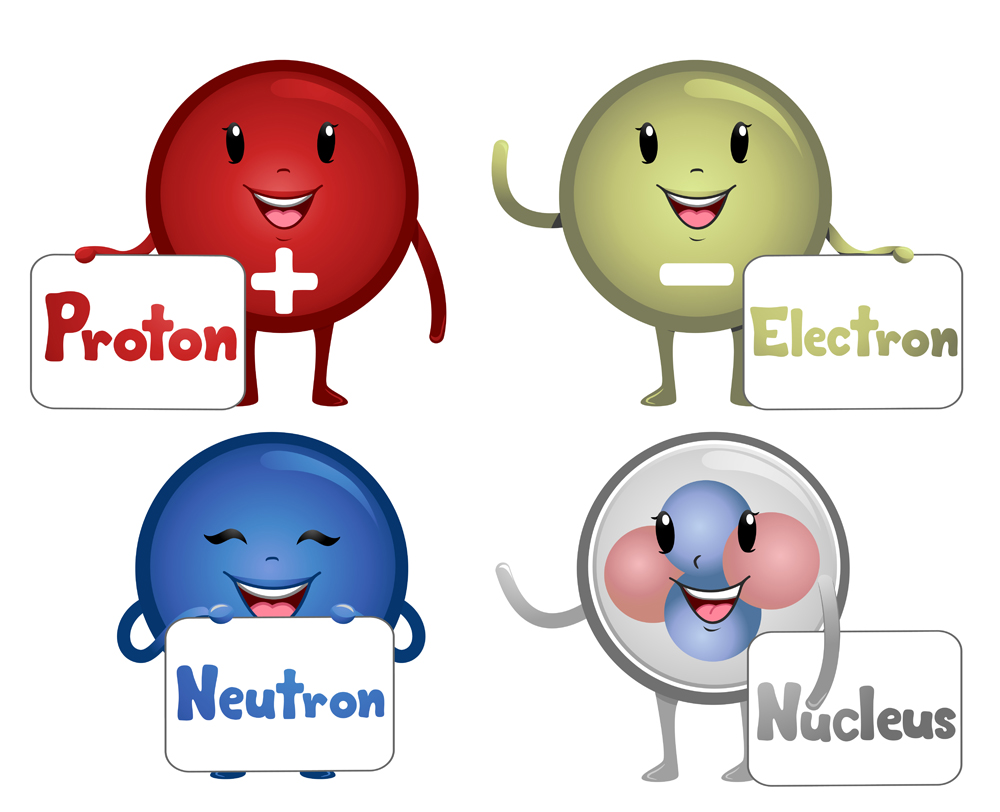 Colorful Illustration Featuring Happy Atomic Particle Mascots Carrying Boards Bearing Their Names(Lorelyn Medina)S