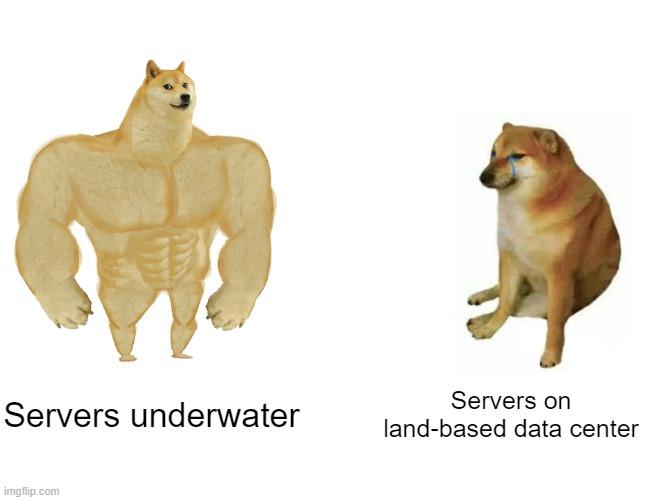 Servers underwater meme