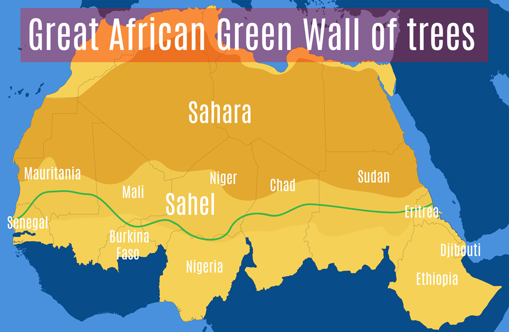 Schematic vector map of the Great African Green Wall of the Sahara and the Sahel(WindVector)s