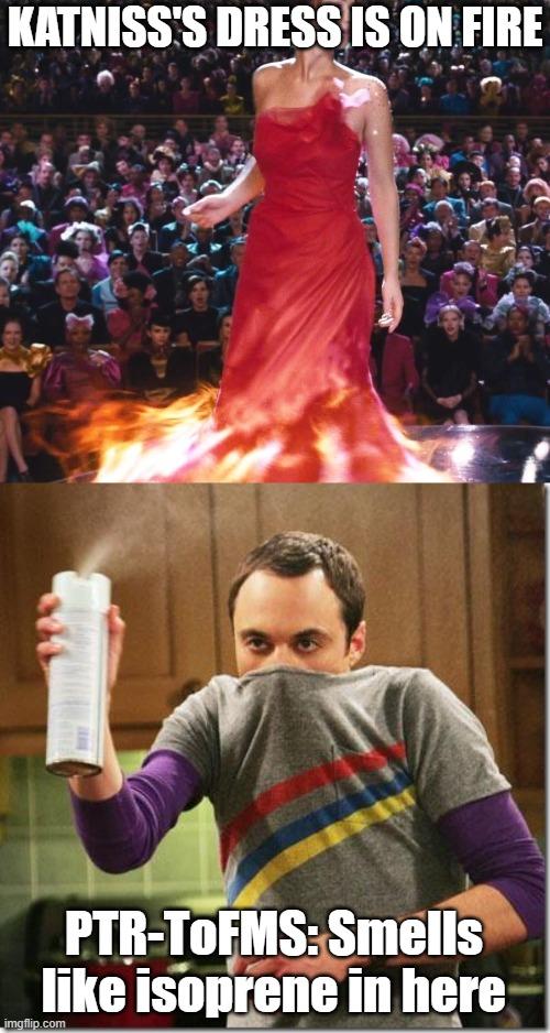 KATNISS'S DRESS IS ON FIRE meme