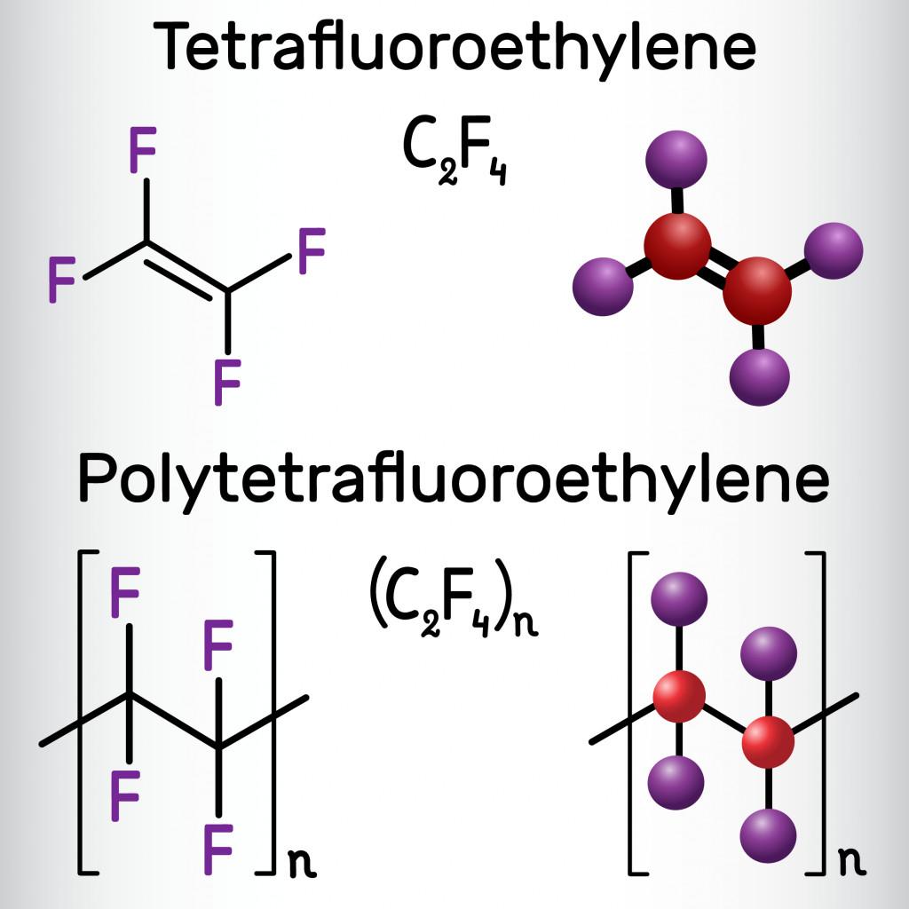 Polytetrafluoroethylene or PTFE polymer and Tetrafluoroethylene or TFE molecule(Bacsica)s