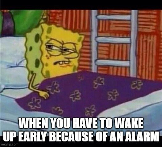 WHEN YOU HAVE TO WAKE UP EARLY BECAUSE OF AN ALARM
