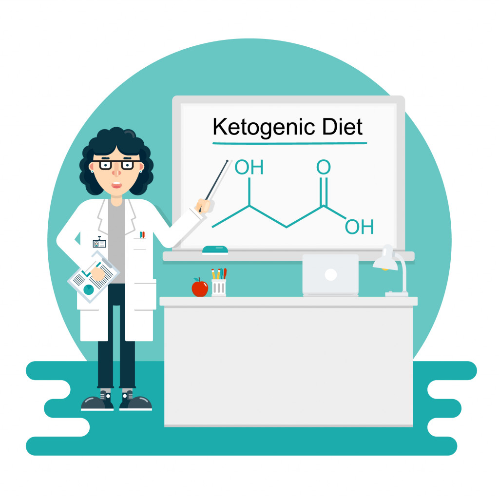 Woman scientist nutritionist lecturer tells about ketogenic low-carb diet in classroom(whale_monorail)s