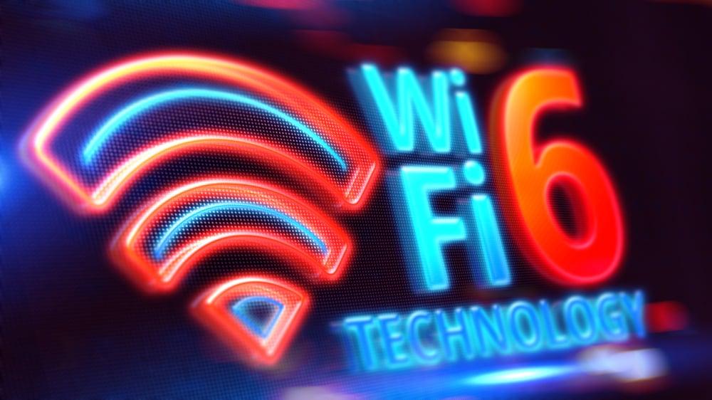 Wifi,6,On,Led,Display.,3d,Illustration.