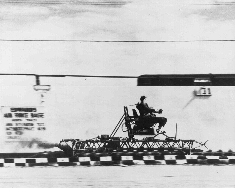 Colonel John Stapp riding the rocket sled