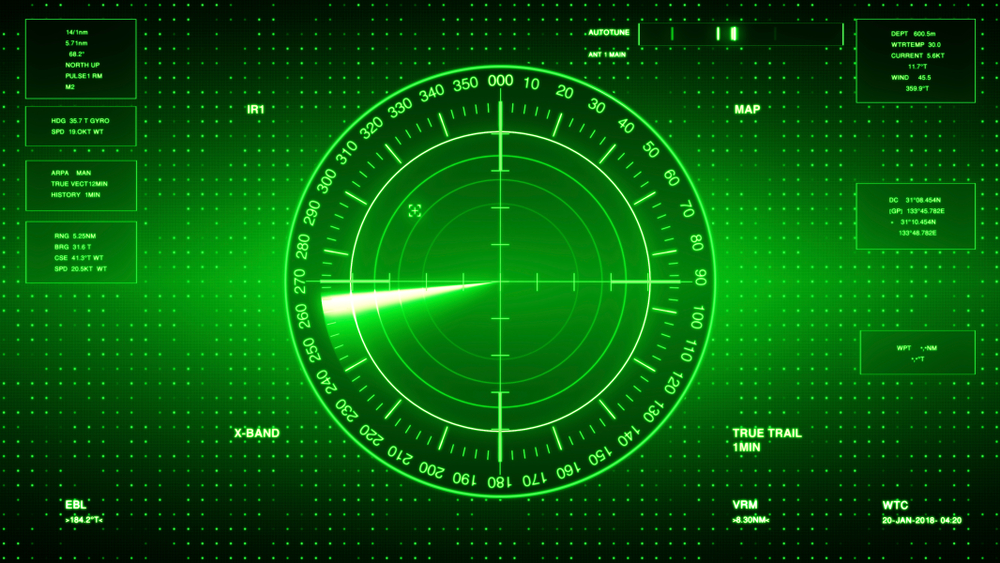 Sonar,Screen,For,Submarines,And,Ships.,Radar,Sonar,With,Object