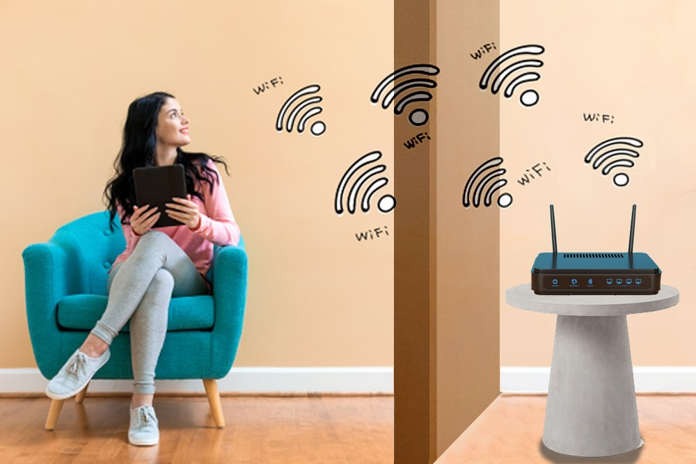 WiFi signals travel through walls.
