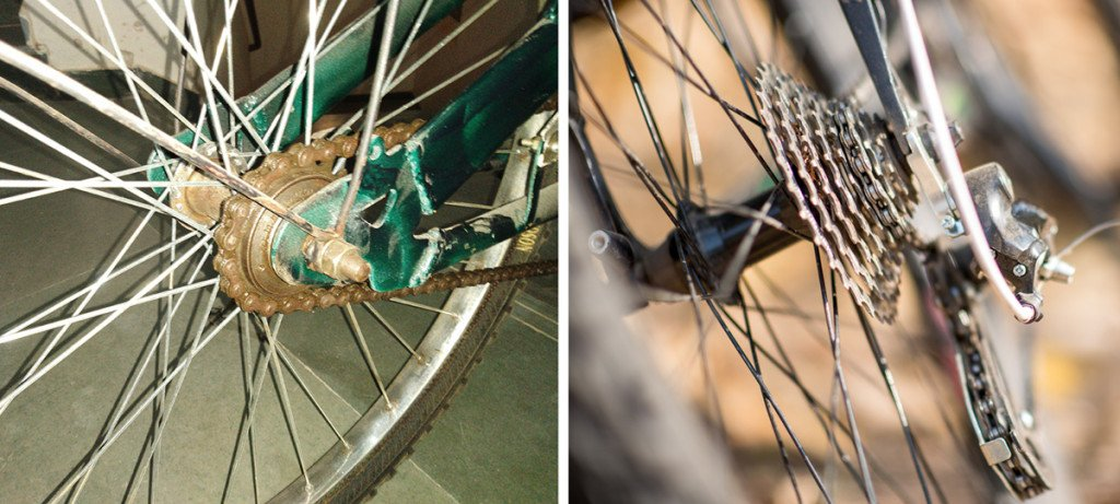 A single speed cycle has one sprocket at each end, whereas a multi speed cycle has cassettes