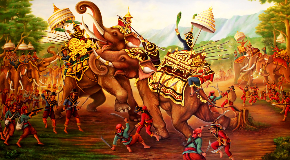 Military,War,Elephants,Painting,On,Wall,In,The,Temple.,At
