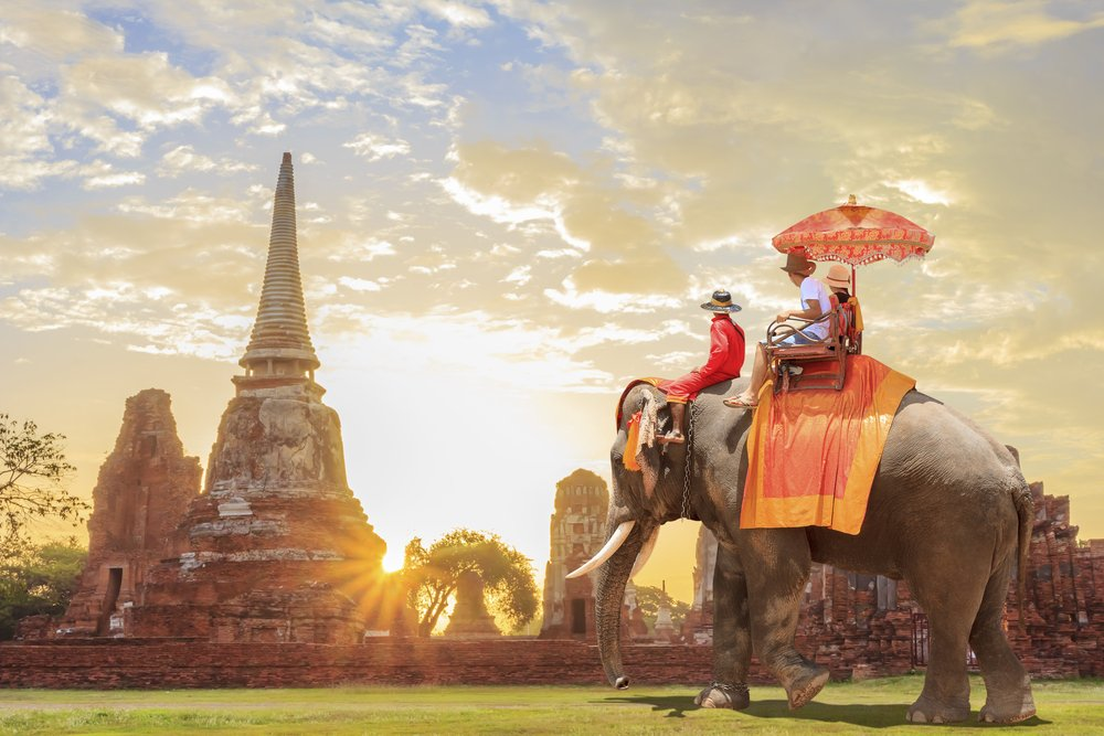 Tourists,On,An,Ride,Elephant,Tour,Of,The,Ancient,City