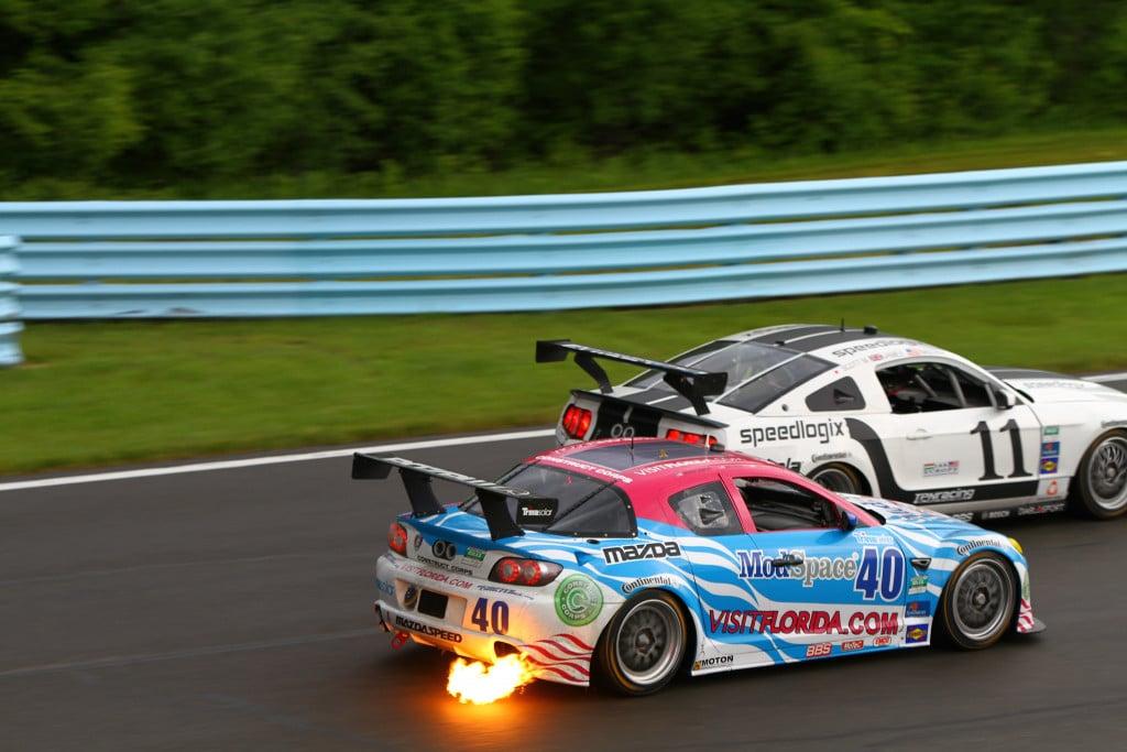 car shoot flames