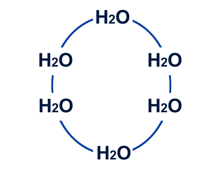 The arrangement of water molecules in solid form.