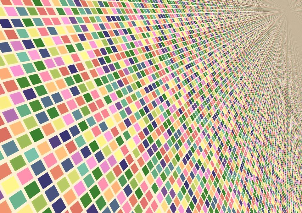 Arrangement Colorful Color Squares Perspective
