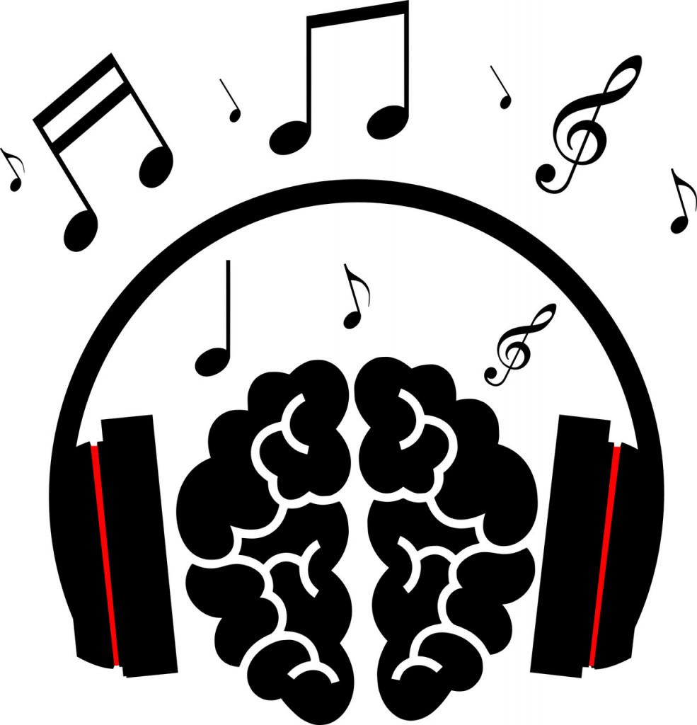 brain with headphone