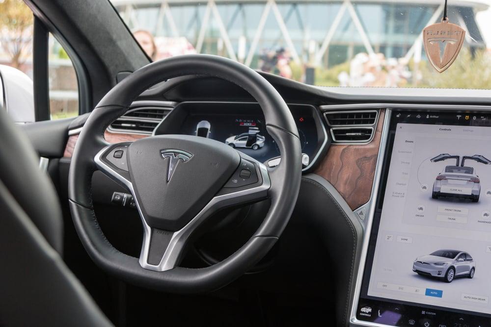 Minsk,,Belarus.,September,,2018.,Exclusive,Expensive,American,Premium,Car,Tesla