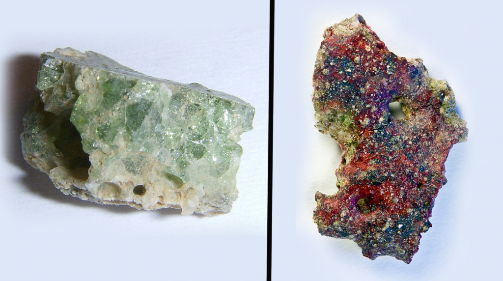 Green and red trinitite