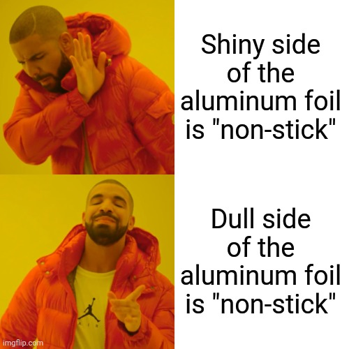 Shiny side of the aluminum foil is non stick meme