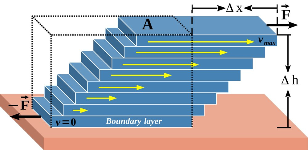 Viscosity is a measure of the friction force or resistance between adjacent fluid layers. This is the best illustration (vector) of the fluid layer model