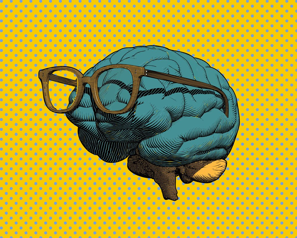 Color retro pop art engraving human brain with eye glasses illustration in side view isolated on blue polka dot and yellow background