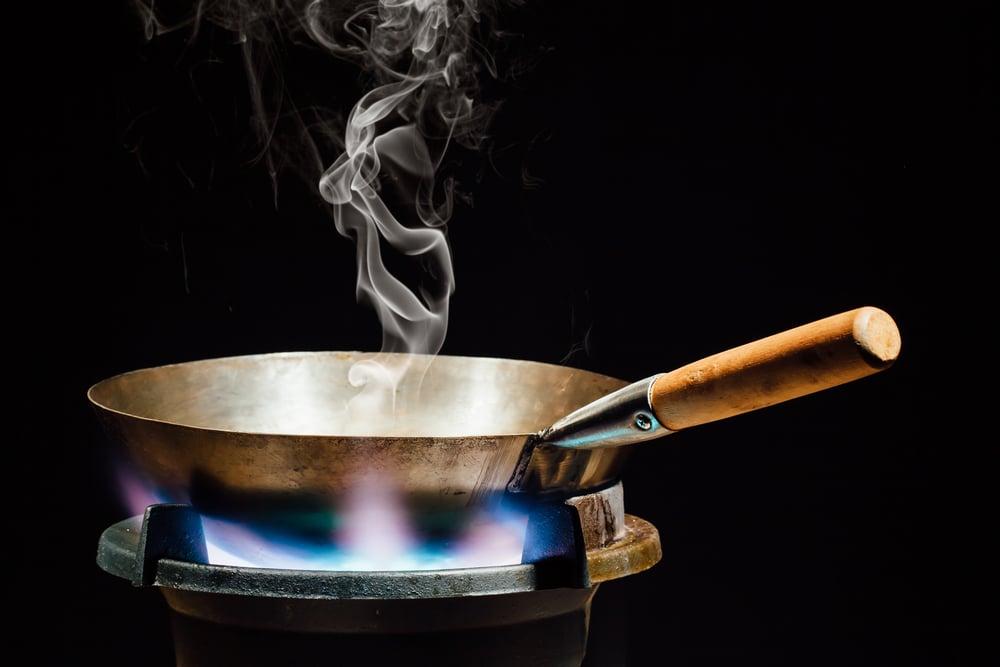 Chinese,Wok,Pan,On,Fire,Gas,Burner